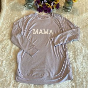 """A:Glow Purple """"Mama"""" Ruched Long Sleeve Top Sz XL"""